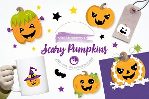 scary pumpkin illustration pack
