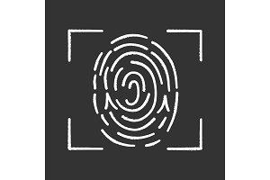 Fingerprint scanning chalk icon