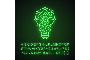 Innovation process neon light icon