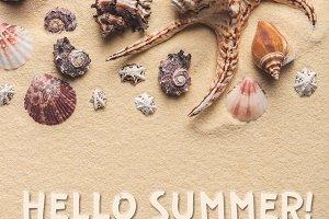 Hello summer inscription on light sa
