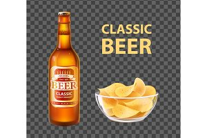Craft Beer in Bottle and Chips in
