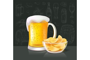 Beer Alcoholic Drink in Glass with