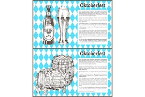 Oktoberfest Beer Objects Set Hand