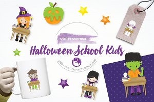 Halloween school illustration pack