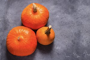 Pumpkinks on grey background