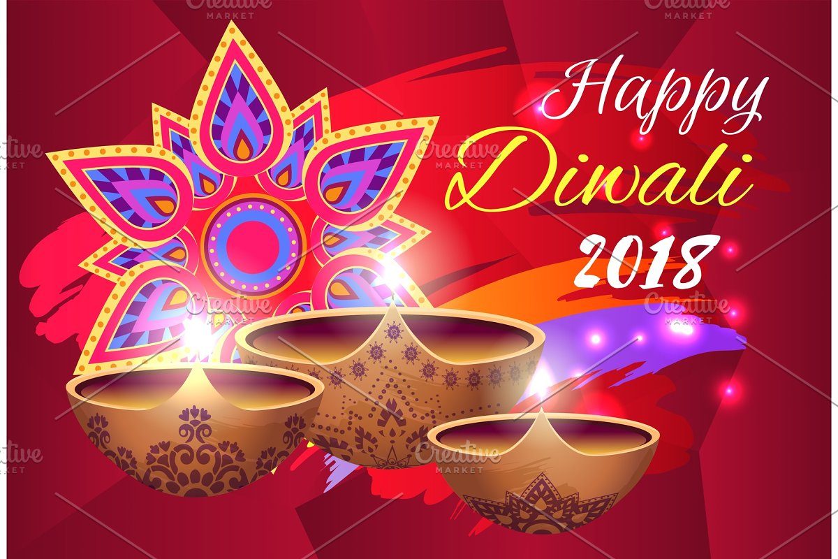 Happy Diwali 2018 Poster On Vector Graphic Objects Creative Market