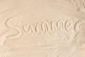 Summer inscription on light beach sa