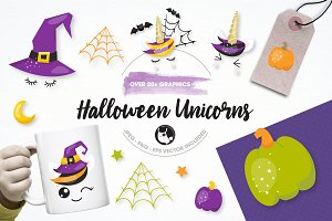 Halloween unicorns illustration pack