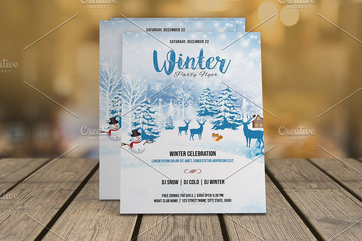 Winter Party Flyer Template V01