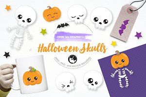 Halloween skulls illustration pack