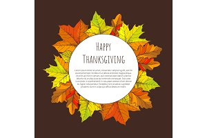 Happy Thanksgiving Day Poster Round