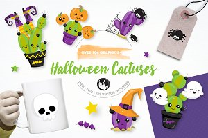 Halloween cactus illustration pack