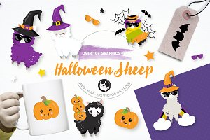 Halloween sheep illustration pack