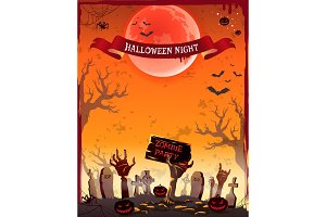 Halloween Night Zombie Party Vector