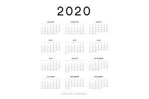English calendar for 2020 years