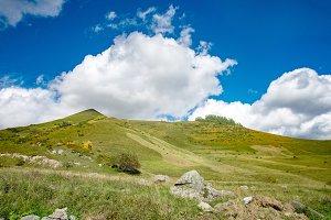 summer mountains green grass and blu