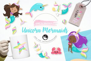 unicorn mermaid illustration pack