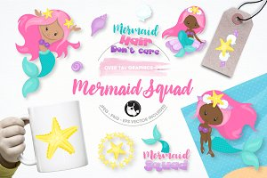 mermaid squad illustration pack