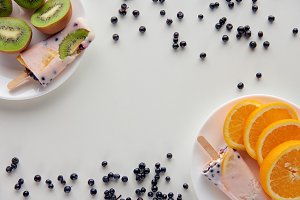 top view of tasty homemade popsicles