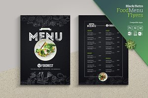 Retro Style Black Food Menu Flyer