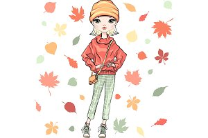 Vector fashion girl in autumn