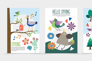 Flat spring time romantic posters