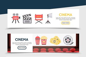 Flat cinema horizontal banners