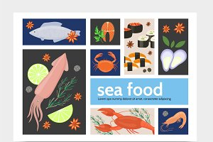 Flat seafood infographic template