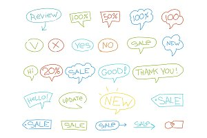 Set sale stickers sketch. Words