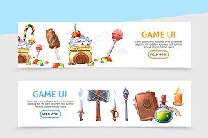 Game design horizontal banners