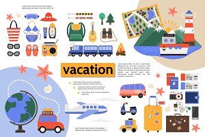 Flat vacation infographic concept
