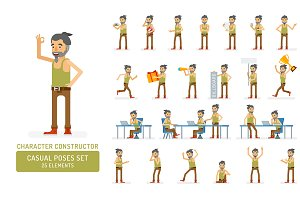 Man in tank top character poses set