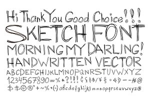 Sketch font. Alphabet handwritten