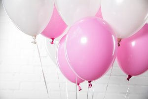 Decorative white and pink balloons o