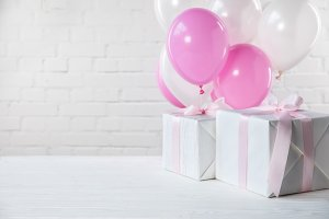 Presents on table with white and pin