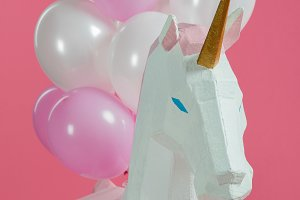Paper unicorn with decorative air ba
