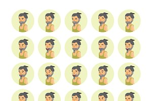 Man in tank top emoticons set