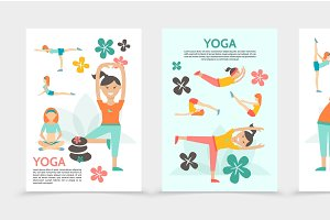 Flat yoga and harmony posters