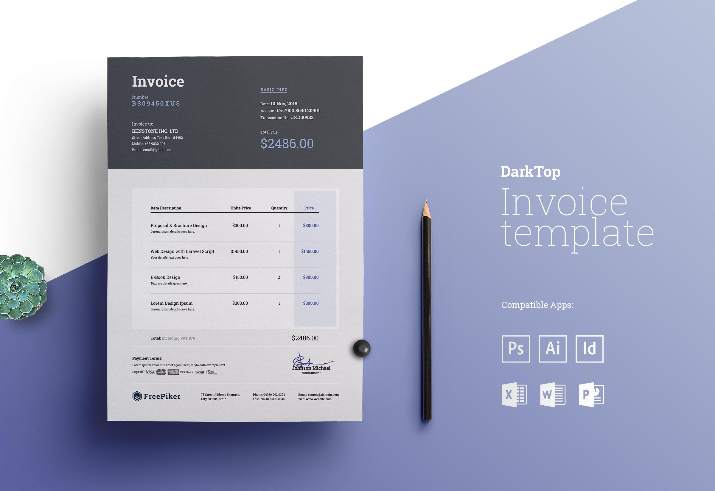 Minimal Excel Invoice Creative Illustrator Templates Creative Market