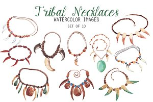 Watercolor Tribal Necklaces Clipart