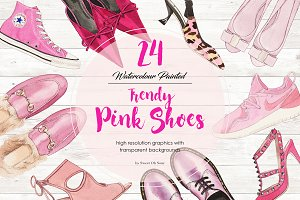 24 WATERCOLOR PAINTED PINK SHOES