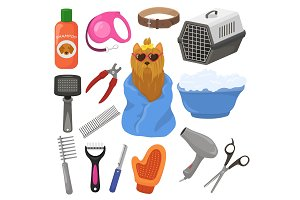 Grooming vector pet dog accessory or
