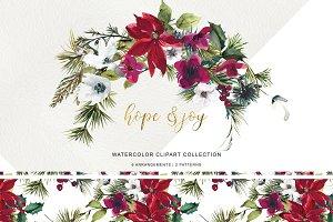 Watercolor Poinsettia Christmas Clip