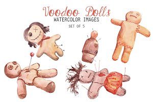 Watercolor Voodoo Dolls Clipart