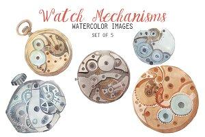 Watercolor Watch Mechanism Clipart