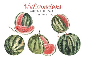 Watercolor Watermelons Clipart