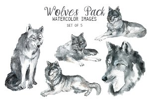 Watercolor Wolves Pack Clipart