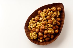 Overhead image of assorted nuts
