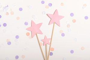 Pink stars on a stick