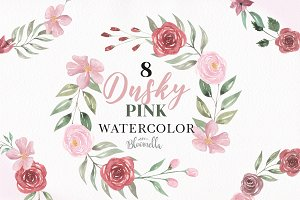 Dusky Pink Rose Wreath Clipart Set